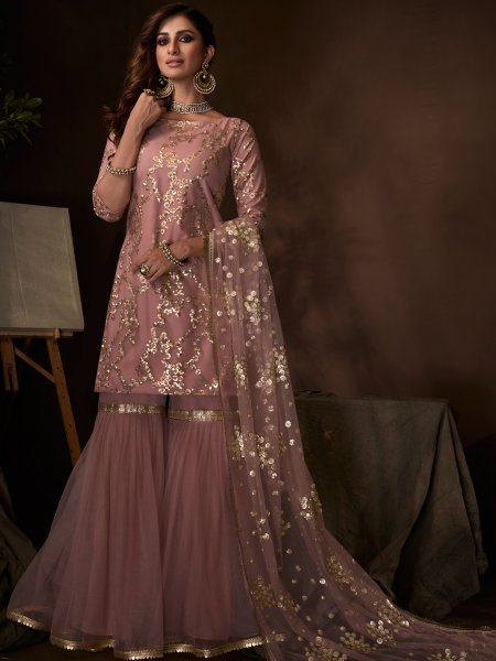 Light Purple Net Embroidered Party Sharara Pant Kameez