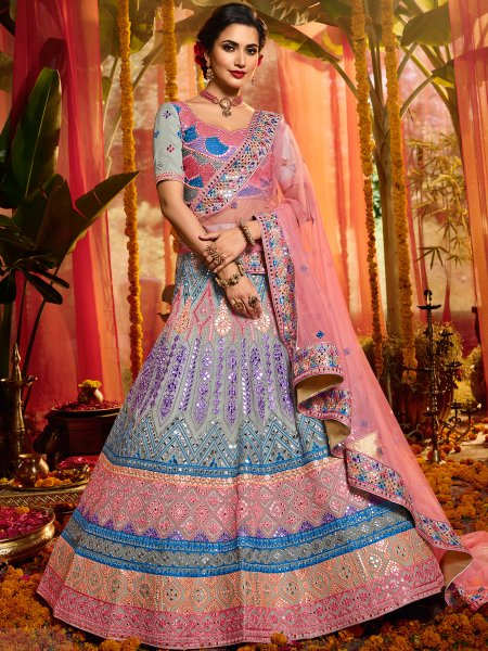 Gray and Salmon Pink Organza Embroidered Wedding Lehenga Choli
