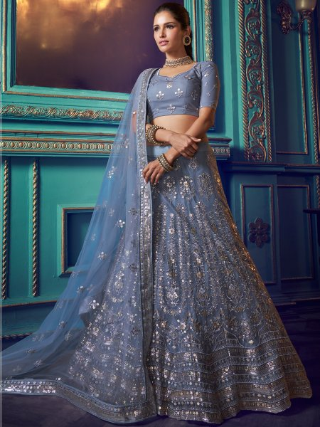 Gray Net Embroidered Festival Lehenga Choli
