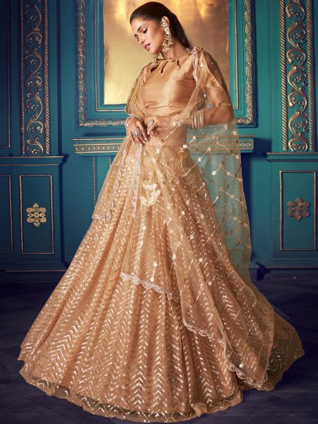 Beige Yellow Net Embroidered Festival Lehenga Choli