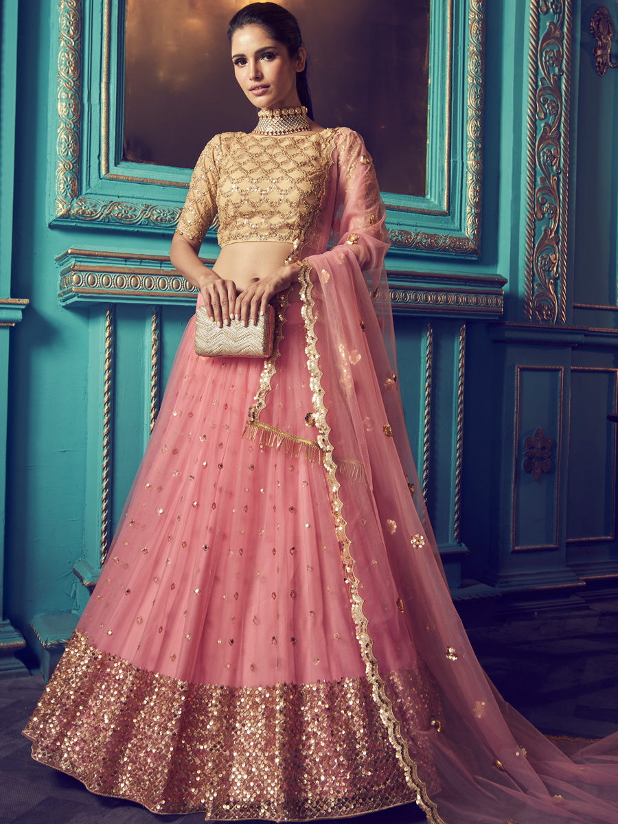 Salmon Pink Net Embroidered Festival Lehenga Choli