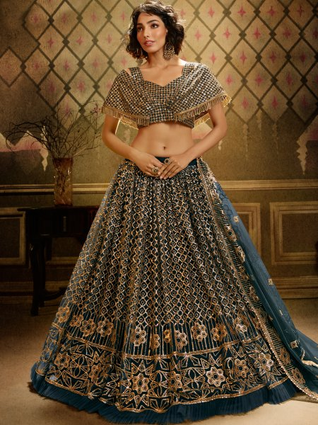 Pine Green Net Embroidered Party Lehenga Choli