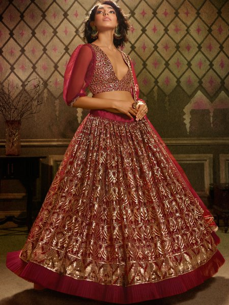 Maroon Net Embroidered Party Lehenga Choli