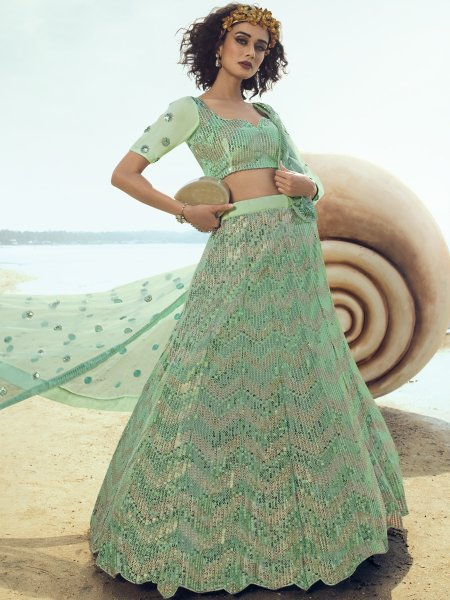 Celadon Green Net Embroidered Party Lehenga Choli
