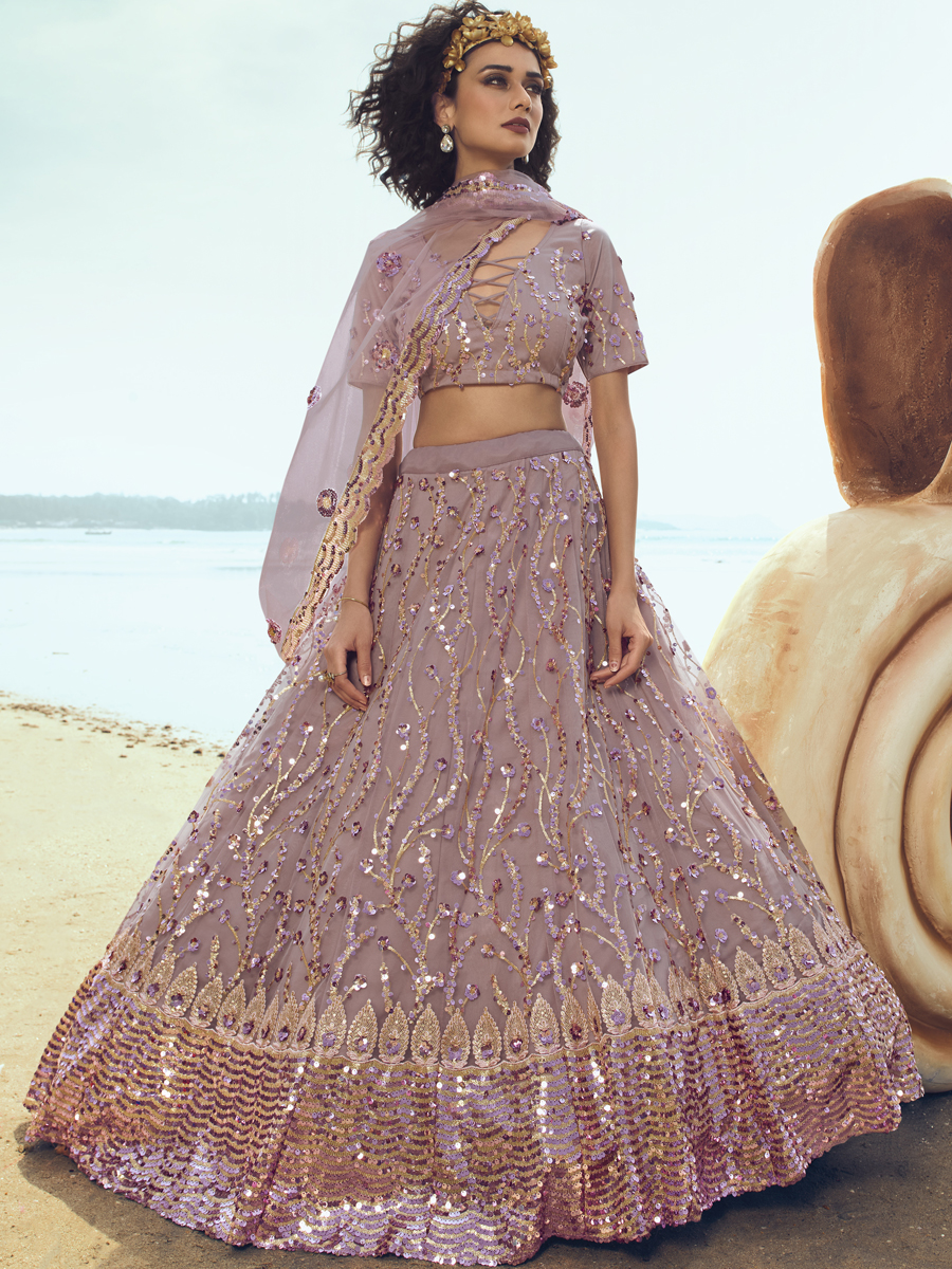 Lilac Violet Net Embroidered Party Lehenga Choli