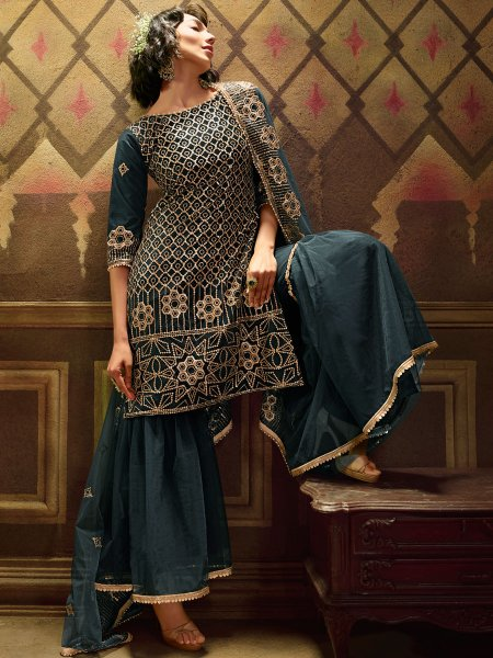Midnight Green Net Embroidered Festival Sharara Pant Kameez