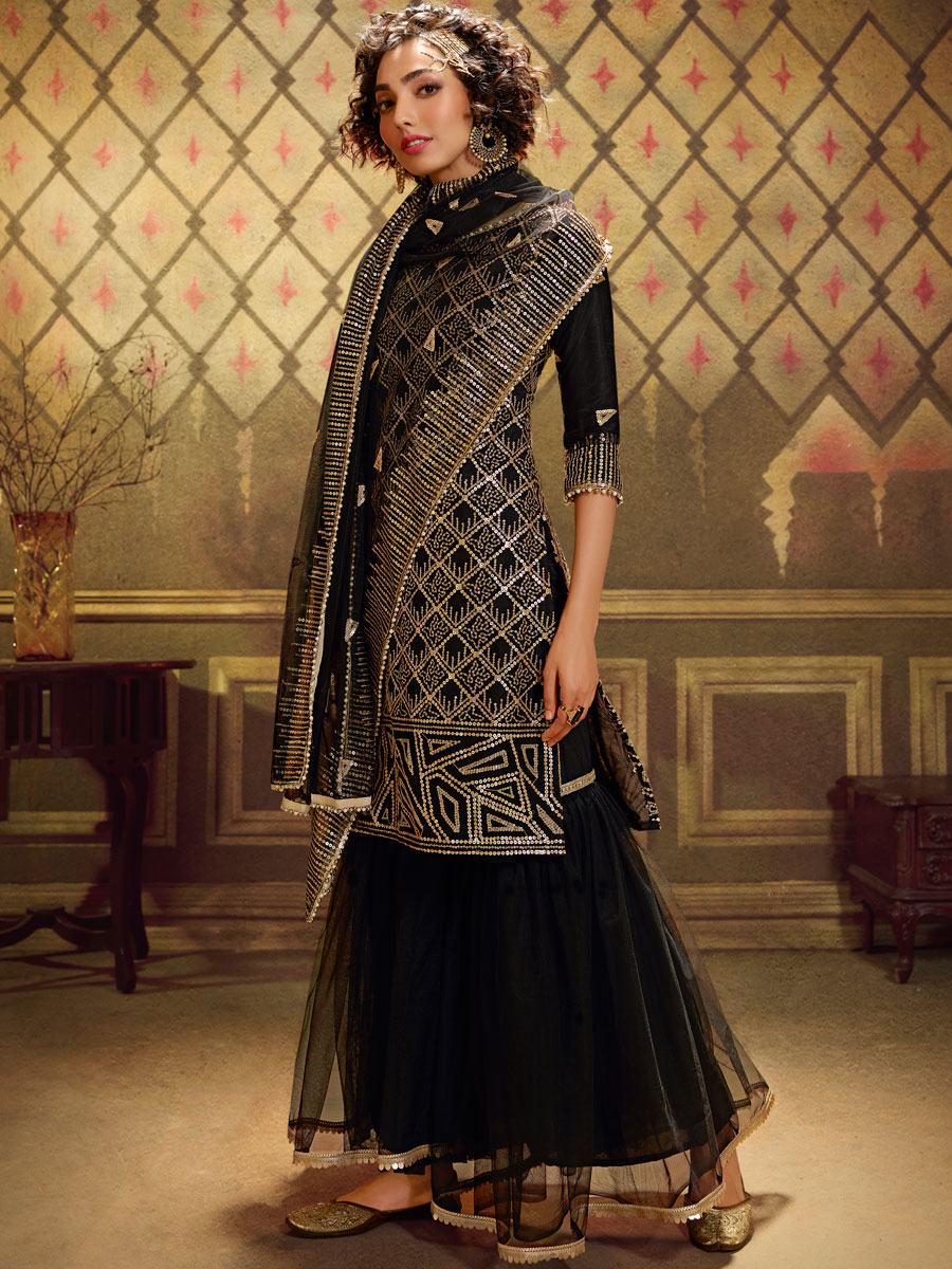 Black Net Embroidered Festival Sharara Pant Kameez