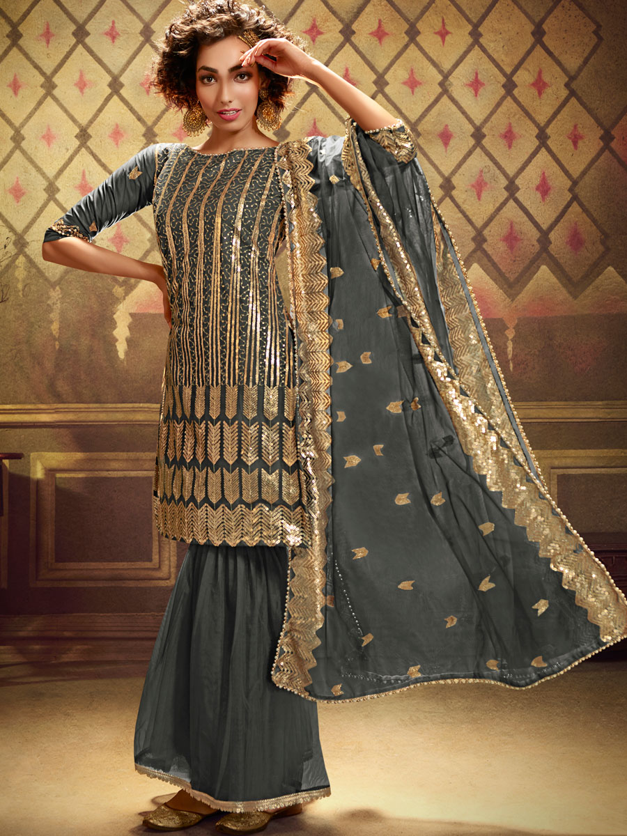 Dark Gray Net Embroidered Festival Sharara Pant Kameez