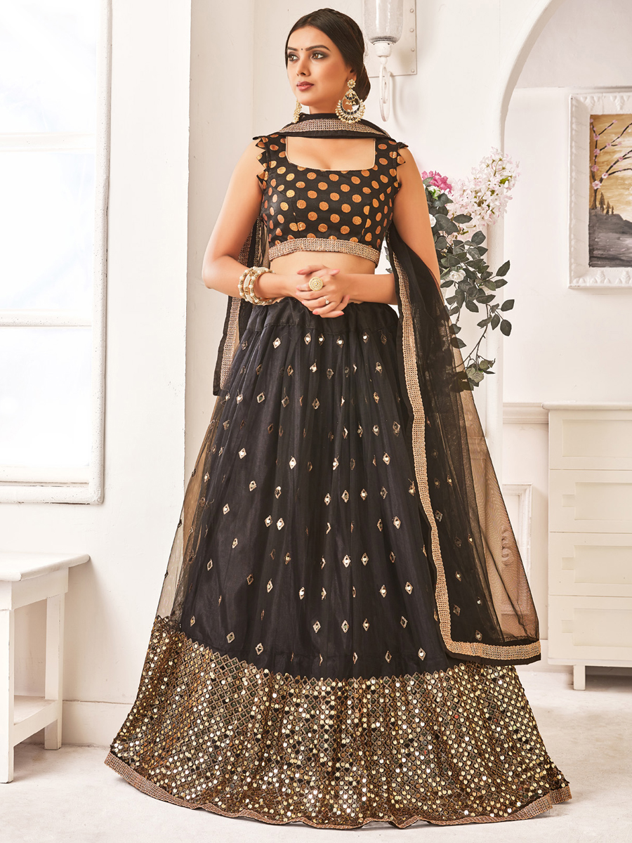 Black Net Embroidered Party Lehenga Choli