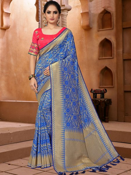 Dark Blue Banarasi Silk Handwoven Festival Saree