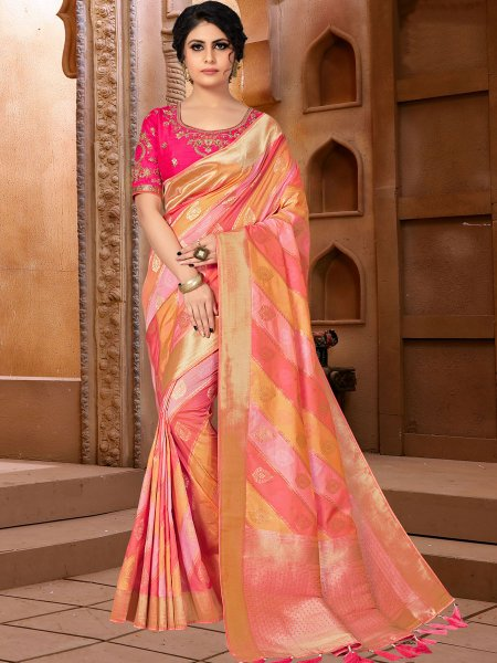 Light Pink and Coral Orange Banarasi Silk Handwoven Festival Saree