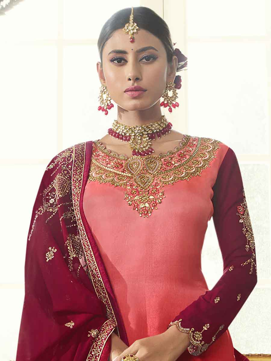 Maroon Satin Georgette Embroidered Festival Lehenga with Suit