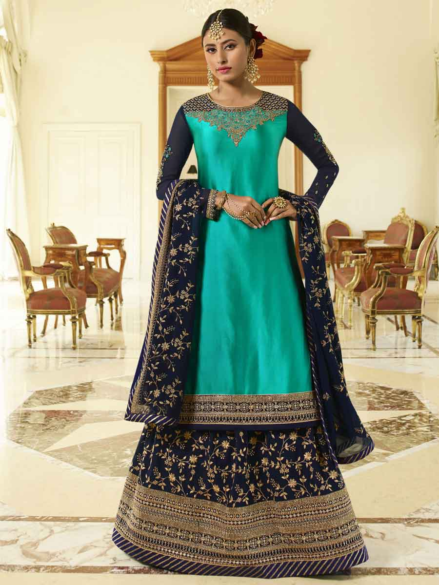 Navy Blue Satin Georgette Embroidered Festival Lehenga with Suit