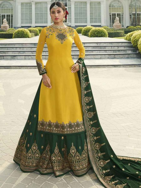 Dark Green Satin Georgette Embroidered Festival Lehenga with Suit