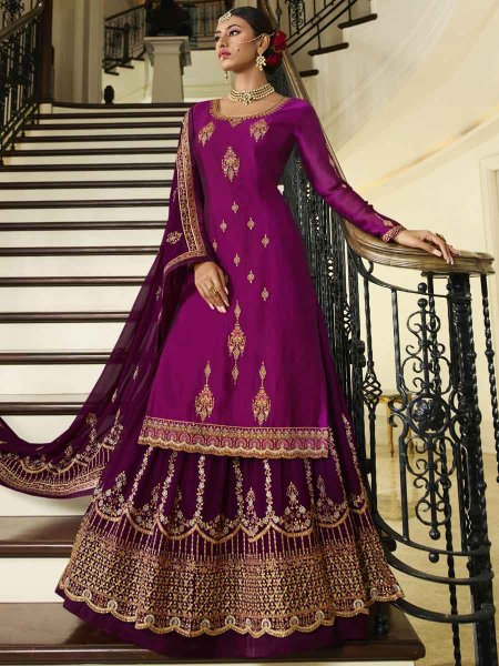 Byzantium Purple Satin Georgette Embroidered Festival Lehenga with Suit