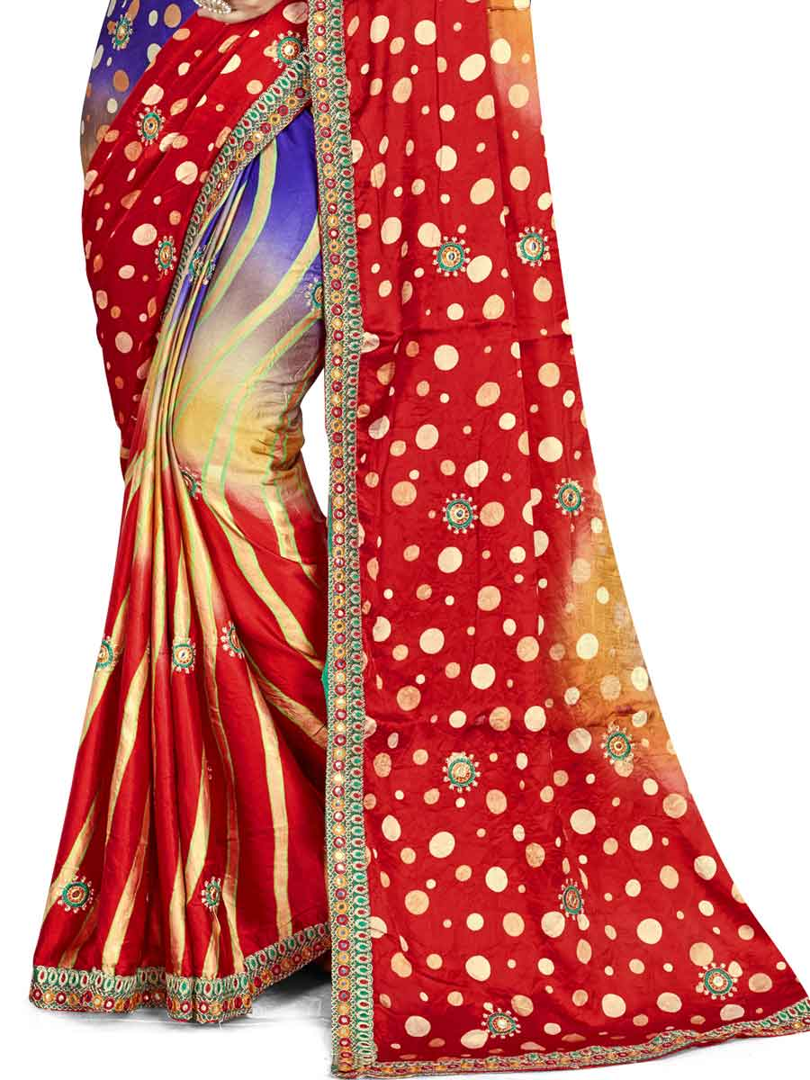 Rose Madder Red and Dark Blue Satin Silk Embroidered Party Saree