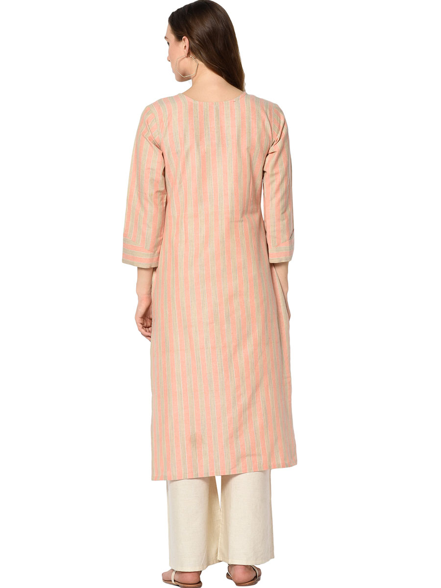 Coral Pink Cotton Printed Casual Kurti
