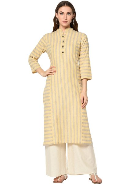 Peach Yellow Cotton Printed Casual Kurti