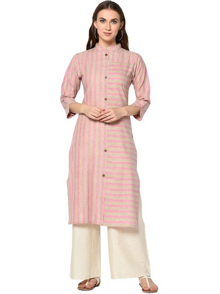 Cream Yellow and Salmon Pink Cotton Printed Casual Kurti