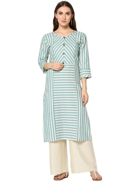 Sky Blue and Cream Yellow Cotton Printed Casual Kurti