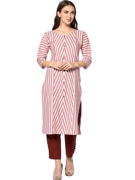 Dark Pink and Cream Yellow Cotton Printed Casual Kurti