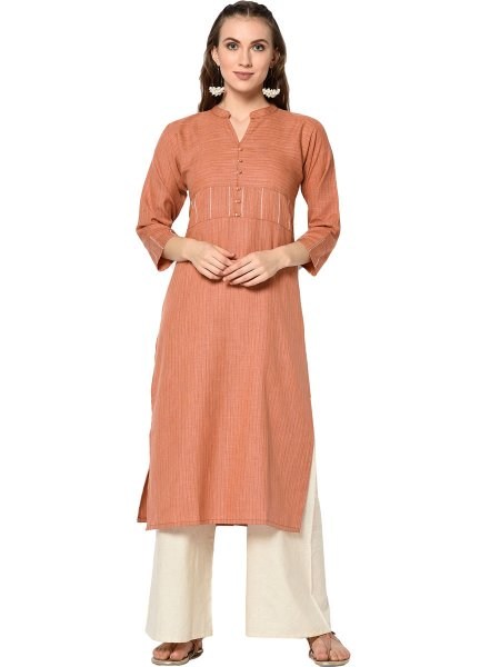Salmon Orange Cotton Printed Casual Kurti