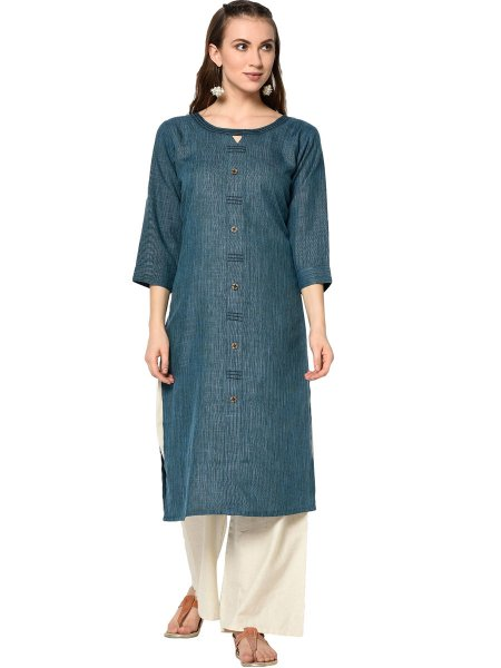 Yale Blue Cotton Printed Casual Kurti