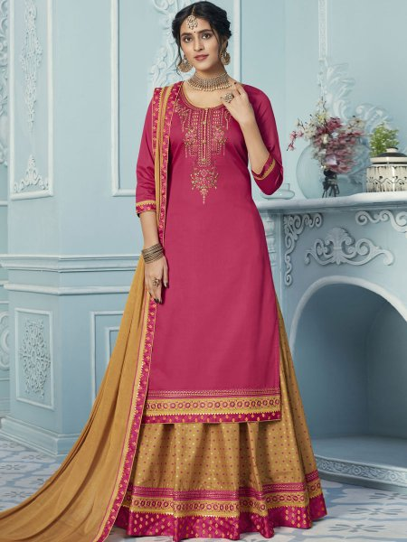 Beige Yellow Cotton Embroidered Party Lehenga with Suit