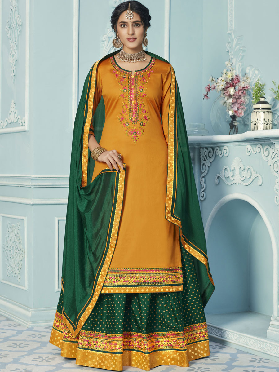 Hunter Green Cotton Embroidered Party Lehenga with Suit