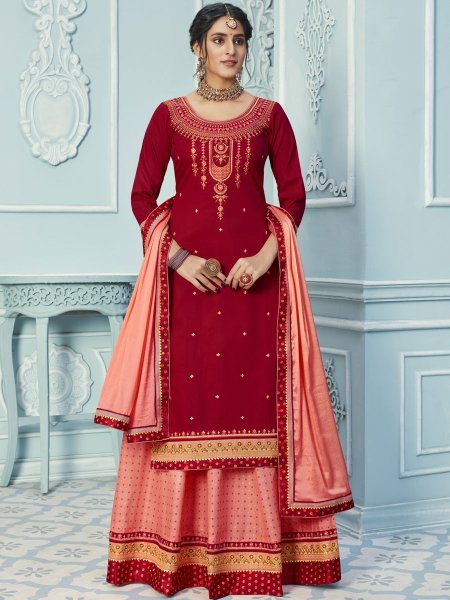 Coral Pink Cotton Embroidered Party Lehenga with Suit