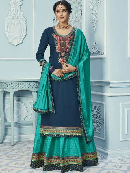 Persian Green Cotton Embroidered Party Lehenga with Suit