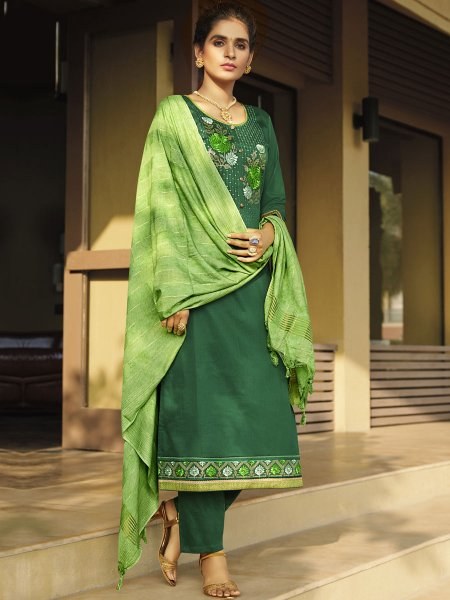 Hunter Green Cotton Silk Embroidered Festival Pant Kameez