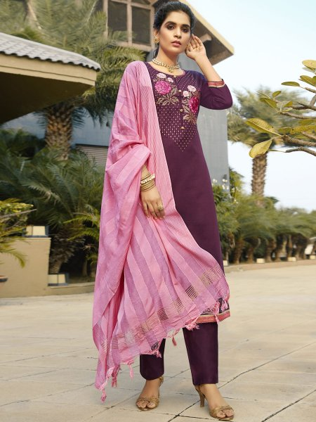 Byzantium Purple Cotton Silk Embroidered Festival Pant Kameez
