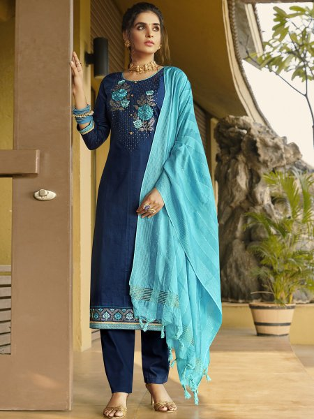 Navy Blue Cotton Silk Embroidered Festival Pant Kameez