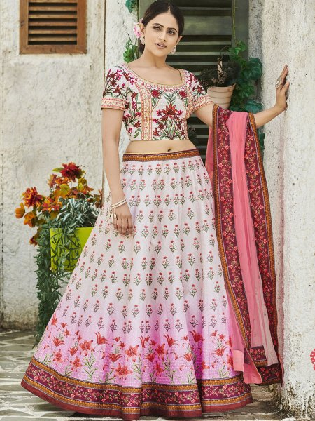 Cream Yellow and Coral Pink Silk Printed Party Lehenga Choli