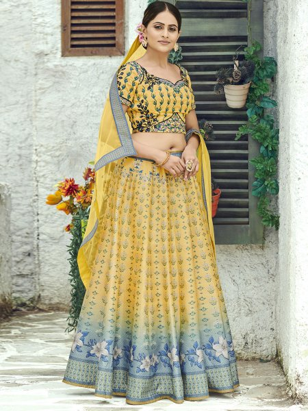 Jonquil Yellow Silk Printed Party Lehenga Choli