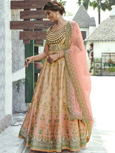 Beige Yellow and Coral Pink Silk Printed Party Lehenga Choli