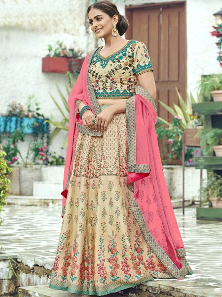 Beige Yellow Silk Printed Party Lehenga Choli