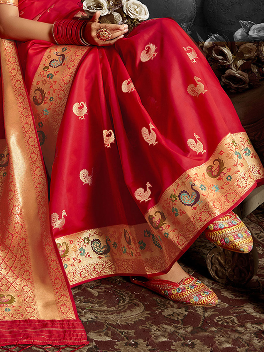 Rose Madder Red Banarasi Silk Handwoven Festival Saree