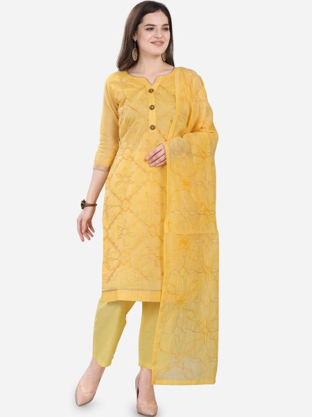Jonquil Yellow Chanderi Silk Embroidered Festival Pant Kameez