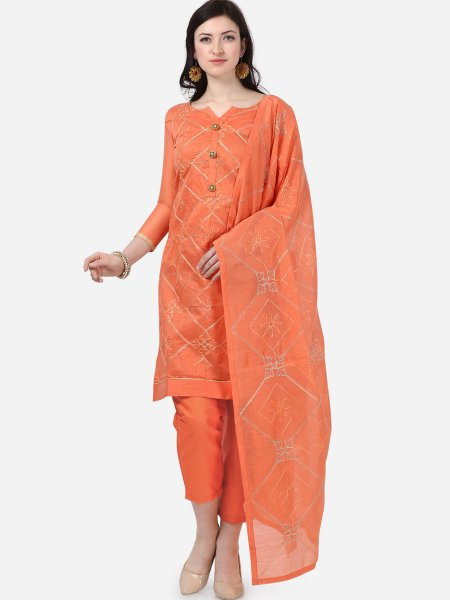 Salmon Orange Chanderi Silk Embroidered Festival Pant Kameez