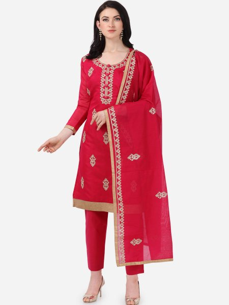 Dark Pink Chanderi Silk Embroidered Festival Pant Kameez