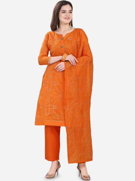 Coral Orange Chanderi Silk Embroidered Festival Pant Kameez