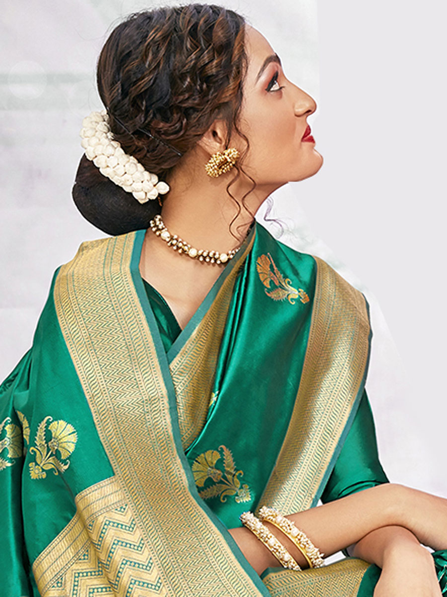 Persian Green BanarasI Silk Handwoven Festival Saree