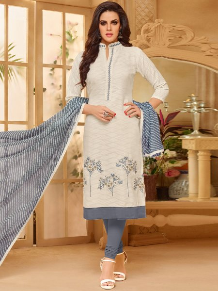 Cream Yellow Cotton Jacquard Embroidered Casual Churidar Pant Kameez