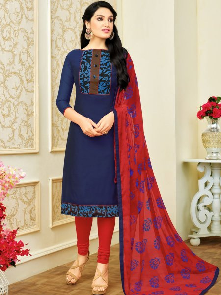 Navy Blue Chanderi Cotton Printed Casual Churidar Pant Kameez