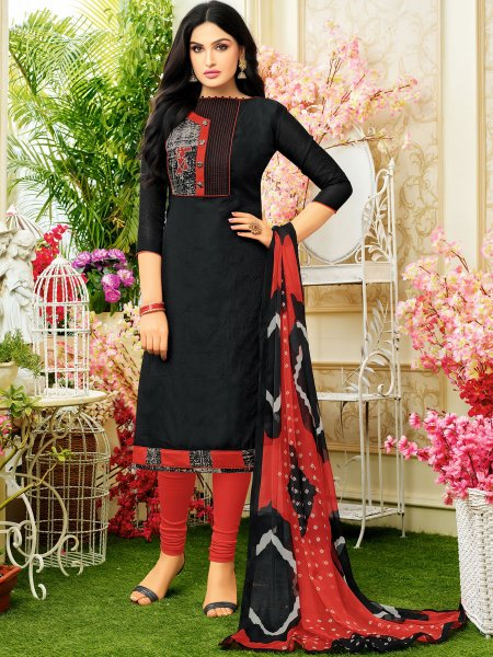 Black Chanderi Cotton Printed Casual Churidar Pant Kameez