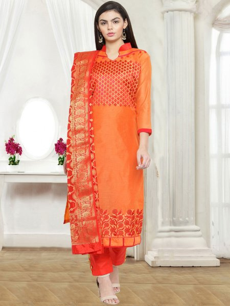 Pumpkin Orange Chanderi Cotton Embroidered Party Pant Kameez