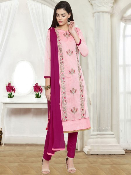 Salmon Pink Chanderi Cotton Embroidered Party Pant Kameez