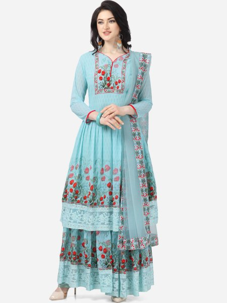Sky Blue Faux Georgette Printed Party Sharara Pant Kameez